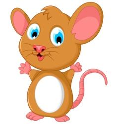 happy fat mouse cartoon posing vector image
