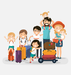 happy numerous family with luggage on white vector image