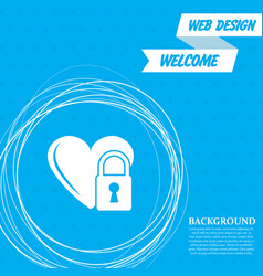 heart lock icon on a blue background with vector image