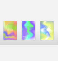 Holographic poster set abstract backgrounds vector