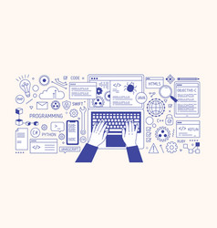 horizontal banner with hands typing on laptop vector image