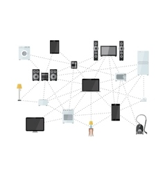House appliances net internet of things flat vector