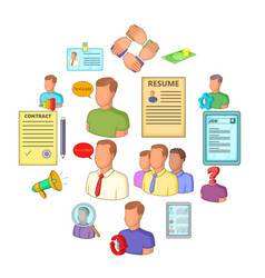 human resources icons set flat style vector image