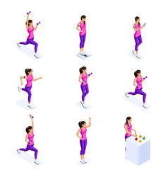 isometry a girl engaged in sports vector image