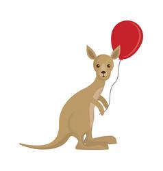 kangaroo with balloon icon vector image
