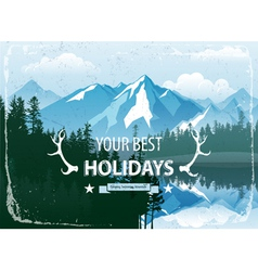 Landscape with forest and mountains vector