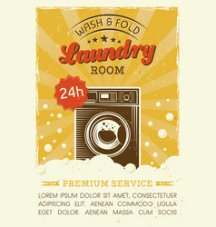 Laundry room poster with washing machine vector