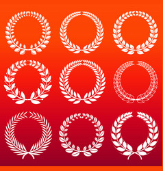 laurel wreaths set - white decorative winners vector image