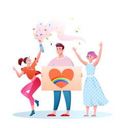 lgbt pride parade cartoon vector image