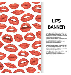 lip kiss open mouth with teeth banner vector image