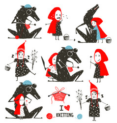 Little red riding hood and wolf fairytale vector