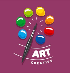 logo brush and palette with paints vector image