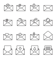 Mail icons thin line design vector image