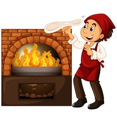 Male chef making pizza with stone oven vector