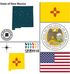 map new mexico with seal vector image