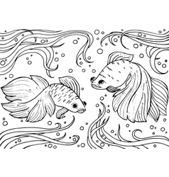 Marine life Monochrom hand drawn background vector image