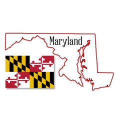Maryland state map and flag vector