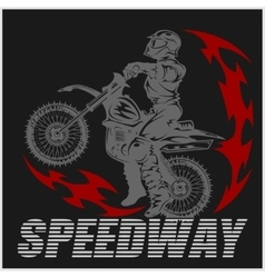Motocross rider on a motorcycle vector