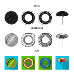Multicolored swimming circle black flat vector