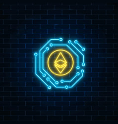 Neon ethereum currency sign with electronic vector