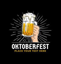 oktoberfest hand holding beer logo badge vector image