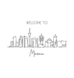 one single line drawing macau city skyline vector image