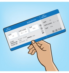 Outstretched hand with airplane ticket vector image