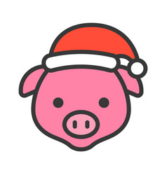 pig face with santa hat filled style icon vector image