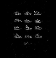 poster sneakers men shoes vintage black vector image