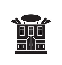 Prominent house black concept icon vector
