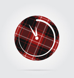 Red black tartan isolated icon last minute clock vector