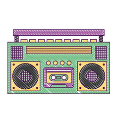 retro stereo cassette player music recorder vector image