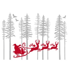Santa Claus with his reindeer in fir forest vector