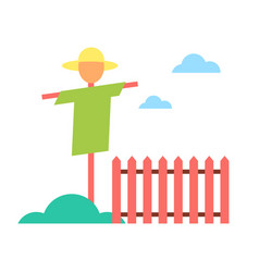 Scarecrow in garden on farm cartoon icon vector