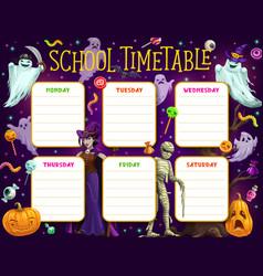 School timetable schedule with halloween vector