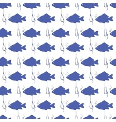 Seamless background with blue fish vector