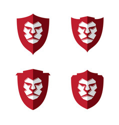 set lion face vector image