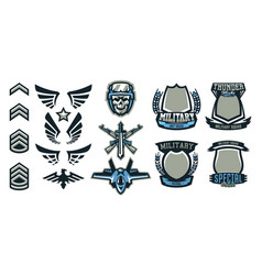 set military and military badges emblems vector image