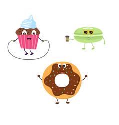 Set of funny characters from cupcake donut vector