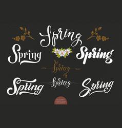 set of hand drawn lettering spring elegant modern vector image