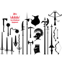set of medieval equipment vector image