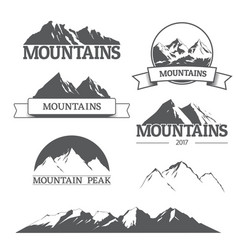 Set of mountain logos on white vector