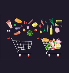 shop trolley and products vector image