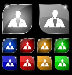 Silhouette of man in business suit icon sign Set vector image