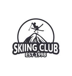 Skiing club vintage design badge logo emblem vector