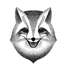 Sly fox smiles black and white sketch for tattoo vector