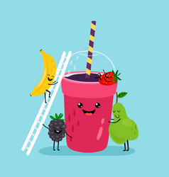 Smoothie drink character vector