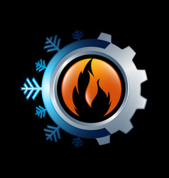 Snowflake and sun symbol for air conditioning vector
