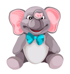 soft plush grey elephant toy isolated on white vector image