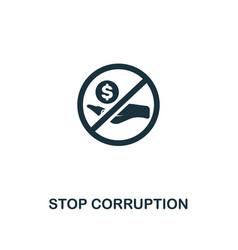 Stop corruption icon premium style design from vector